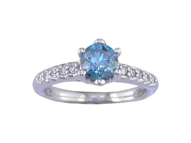 14K White Gold Blue Diamond Engagement Ring (1.15 CT) In Size 7