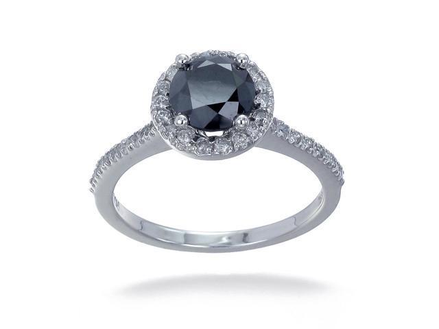 10K White Gold Black diamond Engagement Ring (1.50 CT) In Size 7
