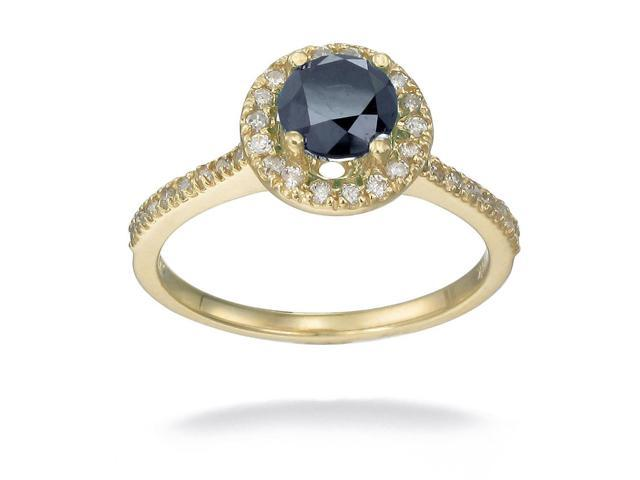 10K Yellow Gold Black Diamond Engagement Ring (1.50 CT) In Size 8