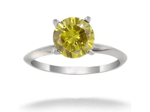 14K White Gold Yellow Diamond Solitaire Ring (1/4 CT) In Size 7