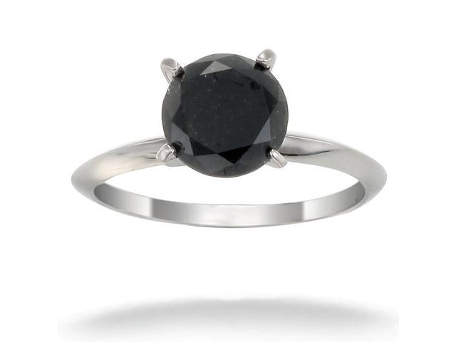 14K White Gold Black Diamond Solitaire Ring (3 CT) In Size 7