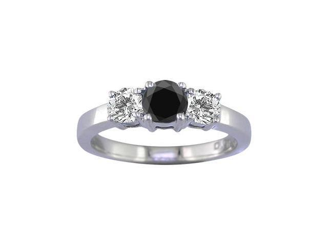 14K White Gold 3 Stone Black and White Diamond Ring (1 CT) In Size 9