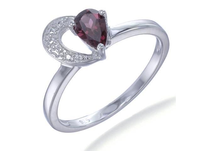 Sterling Silver Garnet Ring In Size 7