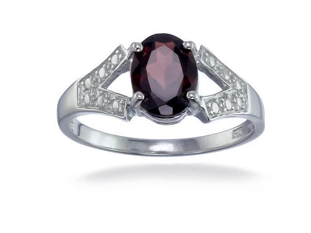 Sterling Silver Garnet Ring (1.20 CT) In Size 7