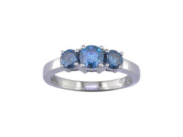 14K White Gold 3 Stone Blue Diamond Ring (1 CT) In Size 7