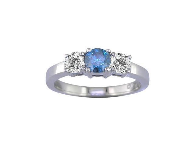 14K White Gold 3 Stone Blue and White Diamond Ring (1/2 CT) In Size 7