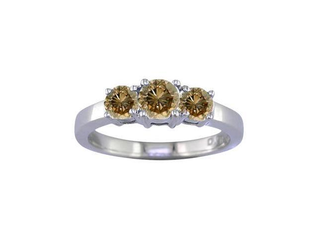14K White Gold 3 Stone Champagne Diamond Ring (1 CT) In Size 7
