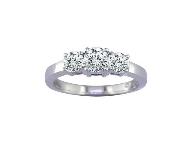 14K White Gold 3 Stone Diamond Ring (1/4 CT) In Size 9
