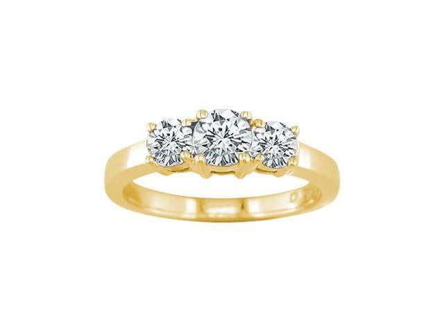 14K Yellow Gold 3 Stone Diamond Ring (1/4 CT) In Size 8