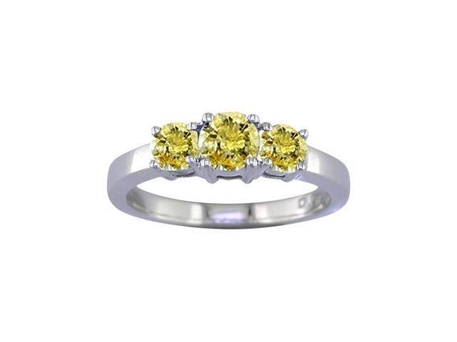 14K White Gold 3 Stone Yellow Diamond Ring (1/2 CT) In Size 7