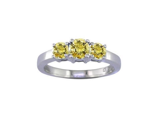 14K White Gold 3 Stone Yellow Diamond Ring (1 CT) In Size 7