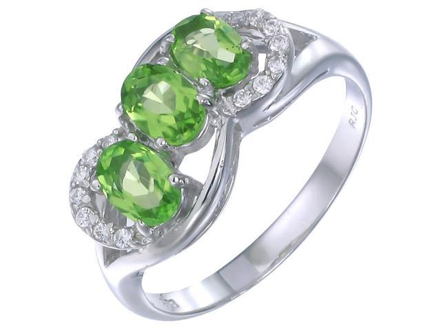Sterling Silver Peridot 3 Stone Ring (1.15 CT) In Size 7