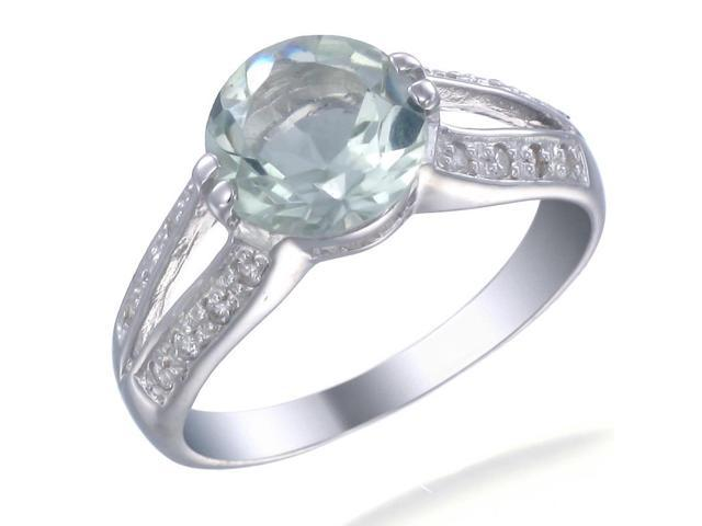 Sterling Silver Green Amethyst Ring (2.50 CT) In Size 7