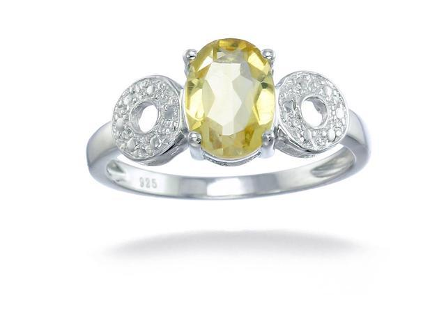 Sterling Silver Citrine Ring (1.20 CT) In Size 7