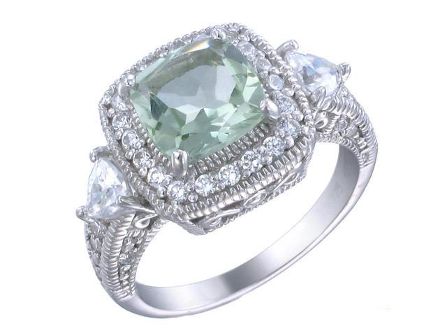 Sterling Silver Green Amethyst Ring (1.80 CT) In Size 7