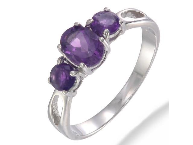 Sterling Silver Amethyst 3 Stone Ring (1.20 CT) In Size 7