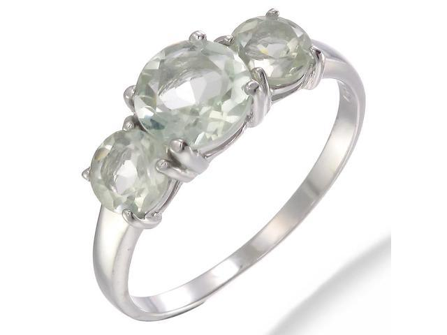 Sterling Silver Green Amethyst 3 Stone Ring (2.20 CT) In Size 9