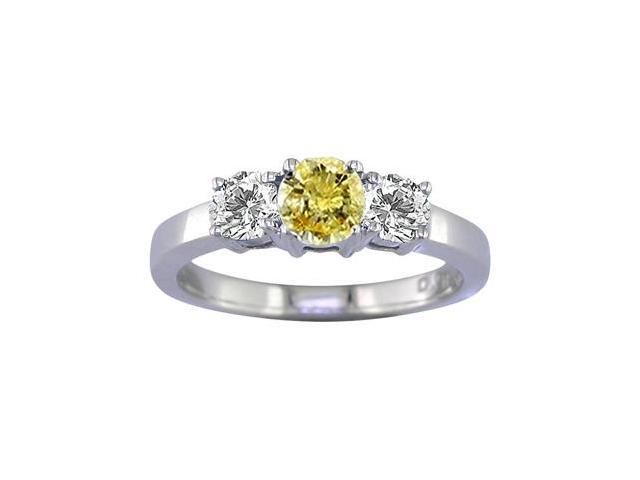 14K White Gold 3 Stone Yellow and White Diamond Ring (1/2 CT) In Size 9