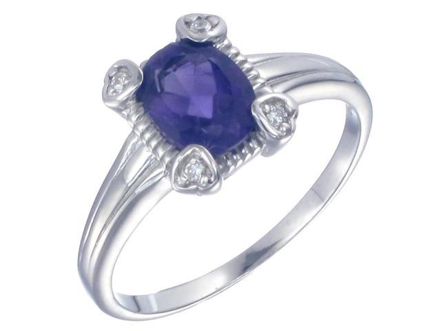 Sterling Silver Amethyst Ring (1.20 CT) In Size 5