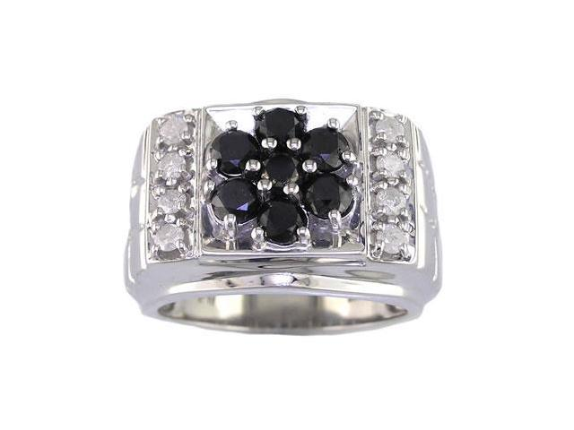 Sterling Silver Black Diamond Engagement Ring (2.60 CT) Size 10