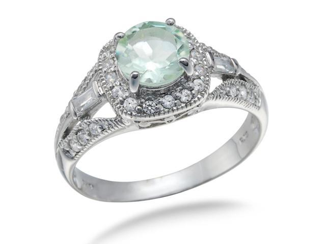 Sterling Silver Green Amethyst Ring (0.80 CT) In Size 7