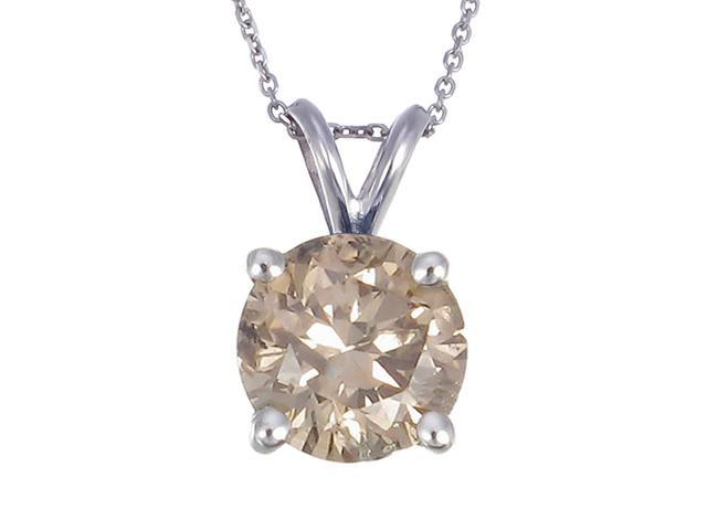 Vir Jewels 14K White Gold Champagne Diamond Solitaire Pendant (1 CT)