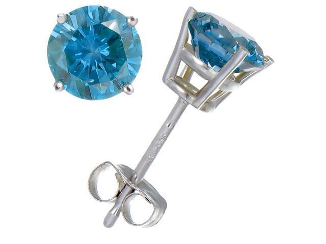 FineDiamonds9 1/3 CTW Round Blue Diamond 14k White Gold Stud Earrings (I1-I2 Clarity)