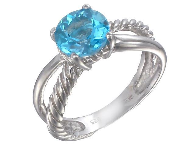 Sterling Silver Swiss Blue Topaz Ring (1.75 CT) In Size 9