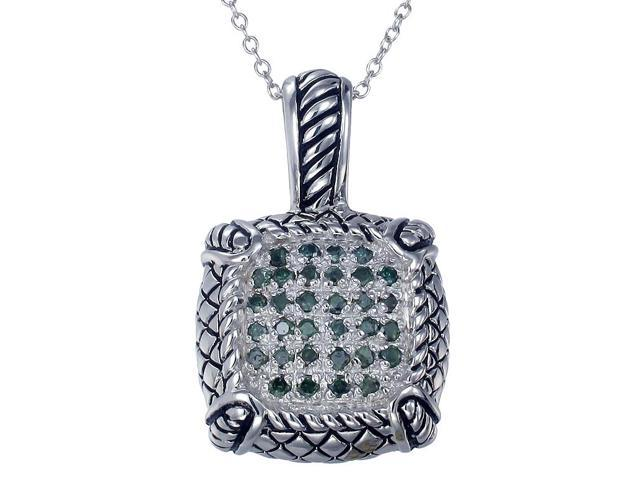 Sterling Silver Green Diamond Pendant (0.45 CT) With 18 Inch Chain