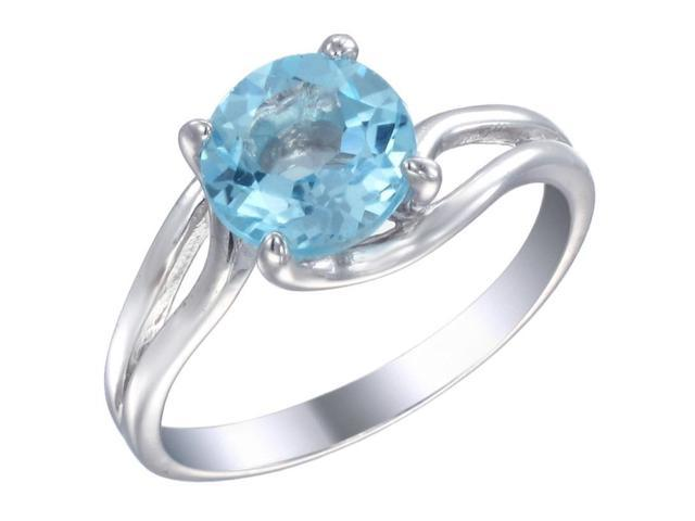 Sterling Silver Blue Topaz Ring (1.75 CT) In Size 9