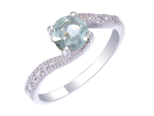 Sterling Silver Green Amethyst Ring In Size 7
