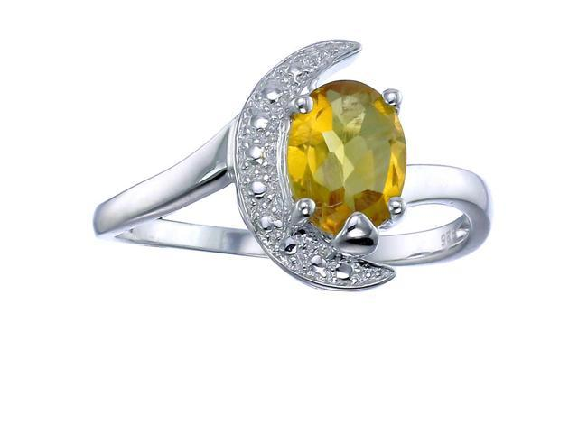Sterling Silver Citrine Ring (1.20 CT) In Size 6