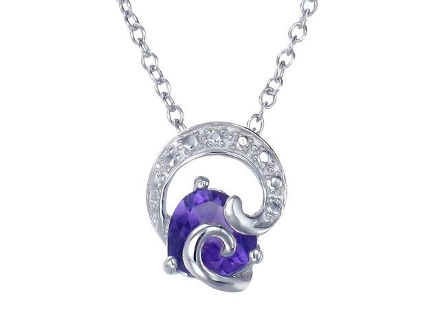 Sterling Silver Amethyst Pendant With 18 Inch Chain
