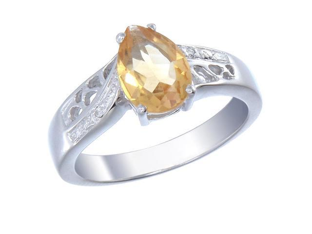 Sterling Silver Citrine & Diamond Ring (1.70 CT) In Size 9