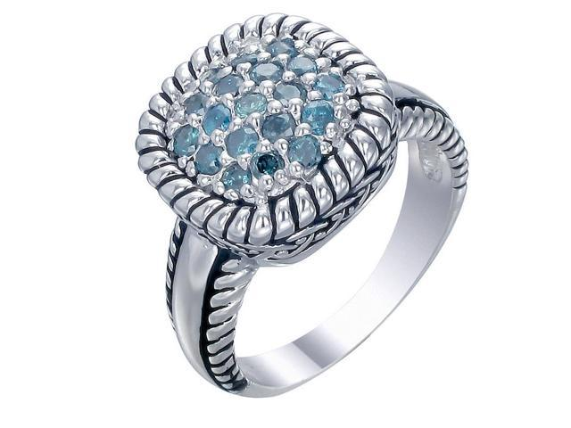Sterling Silver Blue Diamond Ring (1/2 CT) In Size 7