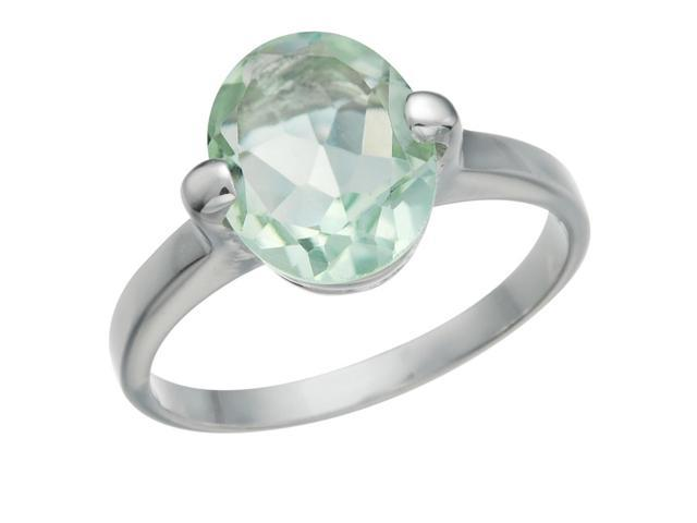 Sterling Silver Green Amethyst Ring (1.70 CT) In Size 5