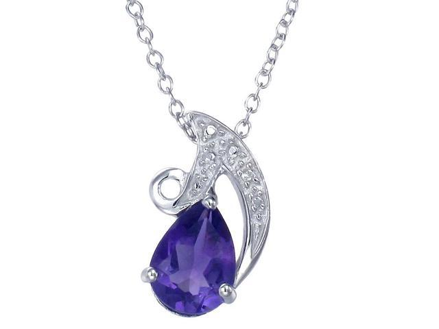 Sterling Silver Amethyst Pendant (1.10 CT) With 18 Inch Chain
