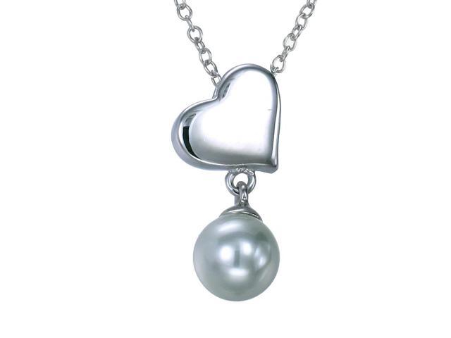Sterling Silver Heart Pendant (6 MM Glass Pearl) With 18 Inch Chain
