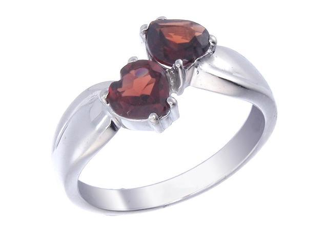 Sterling Silver Garnet Heart Ring (1.40 CT) In Size 9