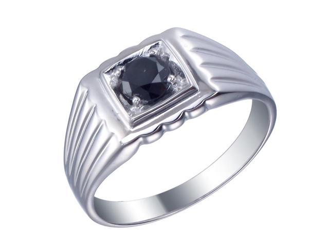 Sterling Silver Men's Black Diamond Engagement Ring (3/4 CT) Size 10