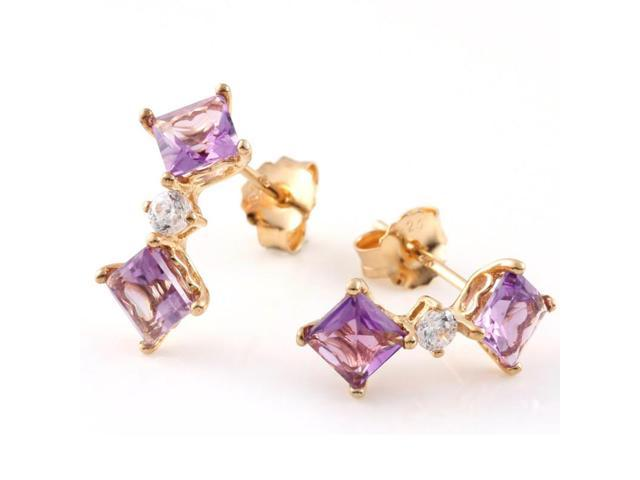 Yellow Gold Plated Sterling Silver Amethyst Dangle Earrings (2 CT)
