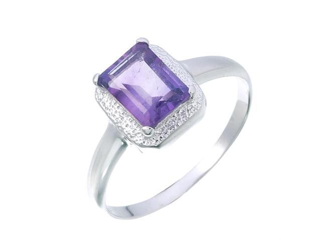 Sterling Silver Amethyst Ring (0.90 CT) In Size 9