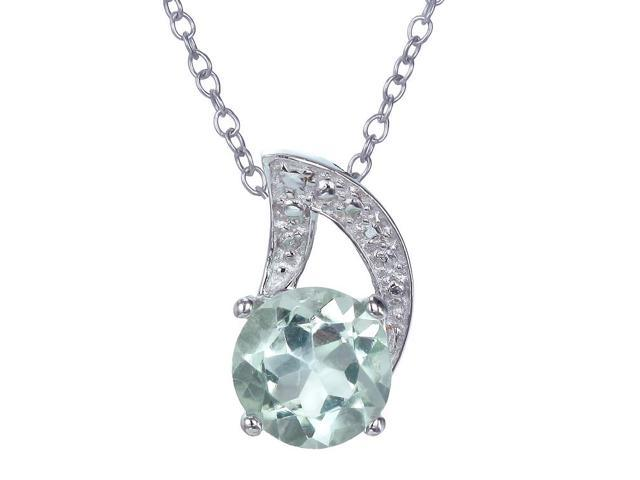 Sterling Silver Green Amethyst Pendant (1.20 CT) With 18 Inch Chain