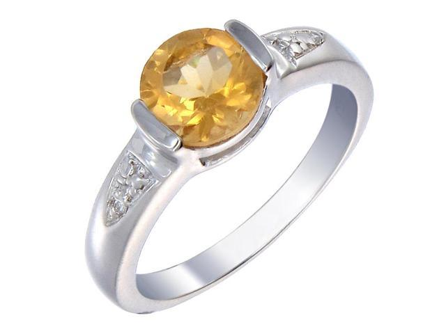 Sterling Silver Citrine Ring (1.30 CT) In Size 8
