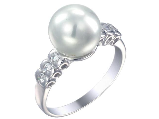 Sterling Silver in Fashion Ring (10 MM Glass Pearl) In Size 9
