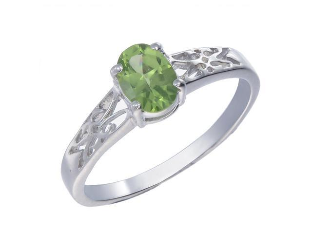 Sterling Silver Peridot Ring In Size 9
