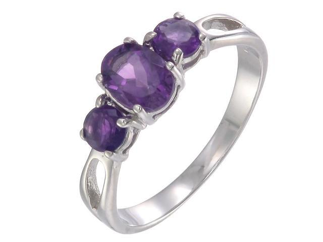 Sterling Silver Amethyst 3 Stone Ring (1.20 CT) In Size 8