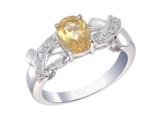 Sterling Silver Citrine & Diamond Ring (1.20 CT) In Size 9