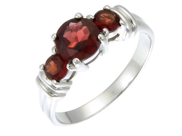 Sterling Silver Garnet 3 Stone Ring (1.20 CT) In Size 6