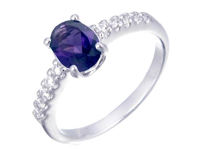 Sterling Silver Amethyst Ring (1.10 CT) In Size 8